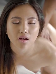 Asian beauty May Thai leads guys extra large cock right into her tight butt