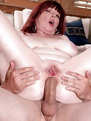 Thick redhead lady Heather Barron getting fucked in twat and ass by large cock