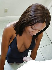 Ebony amateur chick squeezes her boobs with big nipples and sucks cock