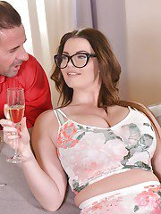 Buxom brunette Tasha Holz getting banged in glasses after drinking too much