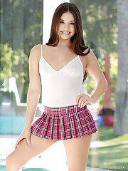 Schoolgirl Lucy Doll rmeoves undies to gently pose her shaved cherry