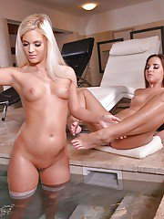 Candee Licious and Amirah sensual lingerie lesbian porn with foot fetish