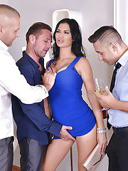 Top brunette MILF Jasmine Jae intense hardcore group sex at work