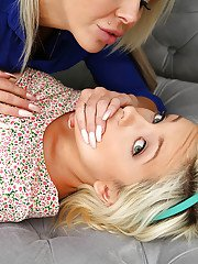 Blonde lesbian porn scenes with busty hot girls Nina Elle and Cleo Vixen