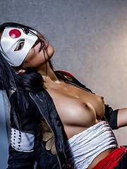 Masked Asian chick Asa Akira getting fucked by black dude in biker gear