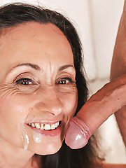 Naked grandmother Milly sucking off dick for mouthful of sperm