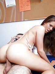 Young brunette doll Jenna Jay superb cock sharing with best friend
