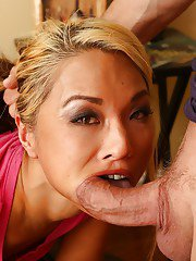 Young blonde Mia Rider head fucked and made to gag in slutty Asian video