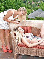 Euro dykes Christen Courtney and Mira Sunset tongue twat in balcony