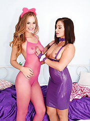 Lesbians Lea Lexis and Jillian Janson bare nice asses for lotion applictaion