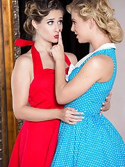 Retro attired chicks Cassidy Klein and Cherie DeVille undress for lesbian sex