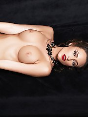 Beautiful centerfold model Deanna Greene and her firm tits pose naked