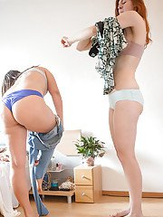 Naked chicks Ana B and Irina get dressed after lesbian sex session