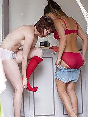 Naked lesbos Amelia B and Bobbie help each other with getting dressed