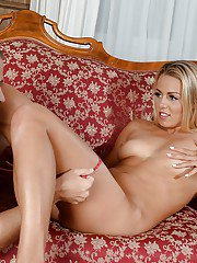 Naked blonde Christen Courtney enjoys heavy dick in her trimmed pussy