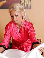 Sexy blonde masseuse Diana Doll getting naked and blowing her client