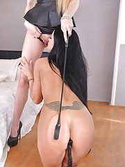 Euro babes Samanta Blaze and Karina Grand rough BDSM lesbian play on cam
