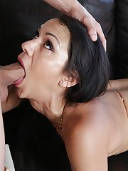 Sultry Latina MILF Samia Durante giving large cock oral sex on leather sofa