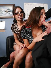 Secretaries Micah Moore and Rachel Starr have threesome with their boss