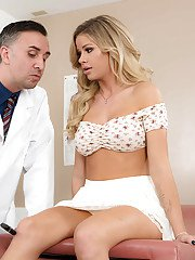 Petite coed Jessa Rhodes displaying large boobs while fucking her gyno doctor