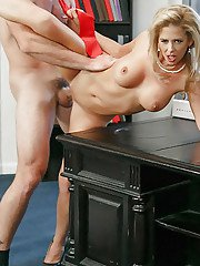 MILFs Cherie Deville and Yasmine de Leon have group sex in the oval office