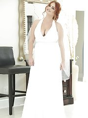 Chubby redhead Lennox Luxe revealing big natural tits underneath wedding dress