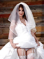 Brunette MILF Karina White showing off spread pussy after doffing wedding gown