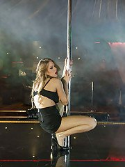 European stripper Viola Bailey taking off her clothes on stage