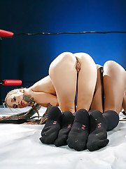 MILFs Sarah Jessie and Jezabel Vessir shed sports bras and panties together