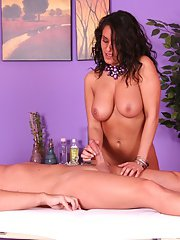 Latina masseuse with curly hair Charley Chase tickles a cock with her tongue