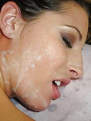 Appealing chick with oiled body Kourtney Kane gets fucked enjoys cum on face