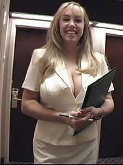Mature housewife Sandra Otterson letting massive boobs free from clothing