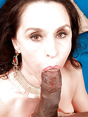 Busty brunette granny Rita Daniels getting ass fucked by large black penis