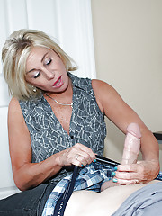 Mature woman Payton Hall strips down to undies and stocking before giving BJ
