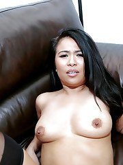 Asian first timer Maya Mona riding cock in reverse cowgirl position