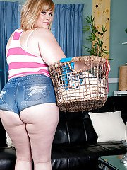 Older BBW Marcy Diamond letting big butt free from denim shorts