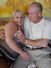 Aged blonde fatty Lizzy getting fucked before jacking and sucking dick