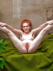 Petite redhead with hairy pussy Tia Jones sexy outdoor solo play