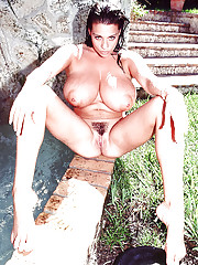 European MILF Linsey Dawn McKenzie letting hooters escape from bikini outside