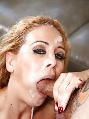 Blonde MILF Cherie DeVille giving large cock messy oral sex