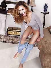 Skinny mixed race MILF Aria Deras modeling naked after doffing blue jeans