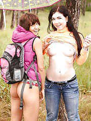 Sensual outdoor lezzi finger fucking porn along Suzy Rainbow and her friend