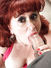 Older redhead lady Shirley Lily sucking and tit fucking a younger man