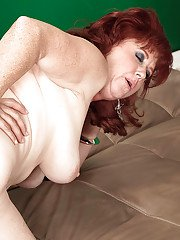 Plump older woman Shirley Lily getting ass fucked while spreading pussy