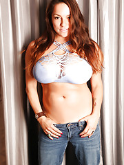 MILF pornstar Monica Mendez showing off exposed nipples and underboobage