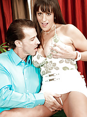 Busty older dame Tori Dean sucking large cock before anal sex