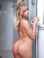 Small titted blonde mom Micah finger fucking wet pussy in the shower
