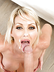 Blonde wife Tylo Duran jerking large dick before getting fucked