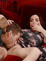 Big titted MILF Diamond Foxxx riding large cock before titty fuck