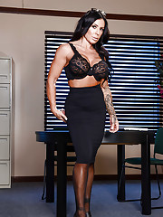 Dark haired MILF Simone Garza stripping off skirt and pantyhose in office